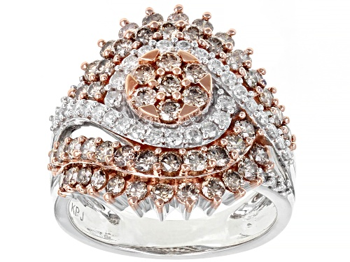 Photo of Rose d' Champ Diamonds™ 2.20ctw Round Champagne & White Diamond 10K White Gold Cluster Ring - Size 5