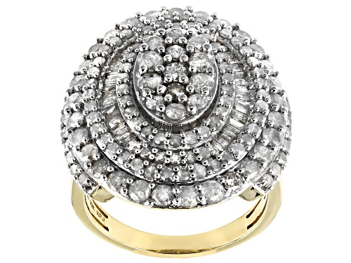 Photo of 2.83ctw Round & Baguette White Diamond 10K Yellow Gold Cocktail Ring - Size 8