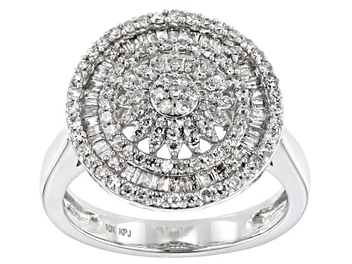 Photo of 0.75ctw Round & Baguette White Diamond 10K White Gold Cluster Ring - Size 7