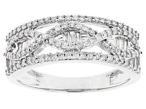 Photo of 0.50ctw Round And Baguette White Diamond 10K White Gold Band Ring - Size 6