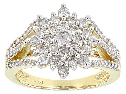 1.00ctw Round White Diamond 10K Yellow Gold Cluster Ring - Size 8
