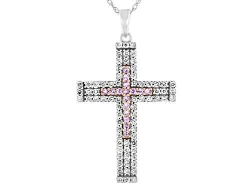 "Photo of 0.17ctw Pink Sapphire & 0.73ctw White Diamond 10K White Gold Cross Pendant With 18"" Rope Chain"