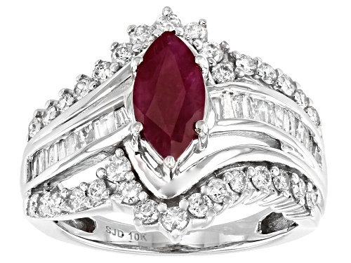 Photo of 1.30ct Mozambique Ruby With 1.00ctw Round And Baguette White Diamond 10k White Gold Cocktail Ring - Size 7