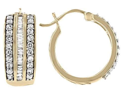 Photo of 0.95ctw Round & Baguette White Diamond 10K Yellow Gold Hoop Earrings