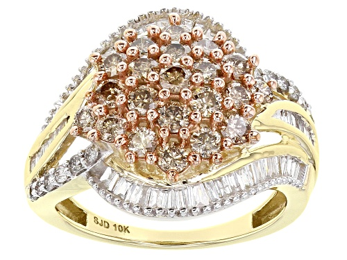 Photo of 1.65ctw Round & Baguette Champagne & White Diamond 10K Yellow Gold Cluster Ring - Size 7