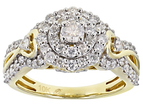 Photo of 1.21ctw Round White Diamond 10K Yellow Gold Cluster Ring - Size 7
