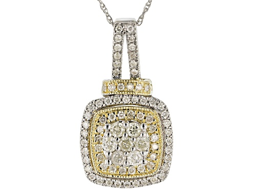 Photo of 0.75ctw Round White Diamond 10K Two-Tone Gold Cluster Pendant With 18 Inch Rope Chain
