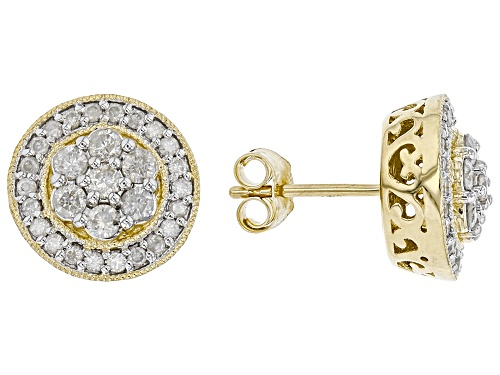 Photo of 1.00ctw Round White Diamond 10K Yellow Gold Cluster Stud Earrings
