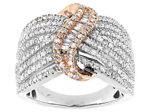 1.40ctw Round & Baguette White Diamond 10K Two-Tone Gold Crossover Ring - Size 9