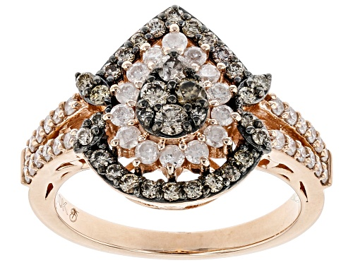 Photo of 1.00ctw Round Champagne & White Diamond 10K Rose Gold Cluster Ring - Size 6