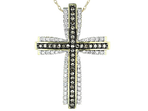 Photo of 0.50ctw Round Champagne & White Diamond 10K Yellow Gold Cross Pendant With 18 Inch Rope Chain