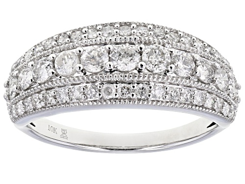 Photo of 1.00ctw Round White Diamond 10K White Gold Wide Band Ring - Size 5