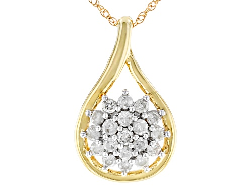 Photo of 0.33ctw Round White Diamond 10K Yellow Gold Cluster Pendant With 18 Inch Rope Chain