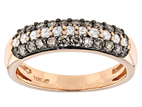 0.75ctw Round Champagne & White Diamond 10K Rose Gold Band Ring - Size 7