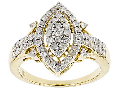 Photo of 0.75ctw Round White Diamond 10K Yellow Gold Cluster Ring - Size 6