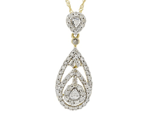 0.74ctw Round White Diamond 10K Yellow Gold Cluster Pendant With 18 Inch Singapore Chain