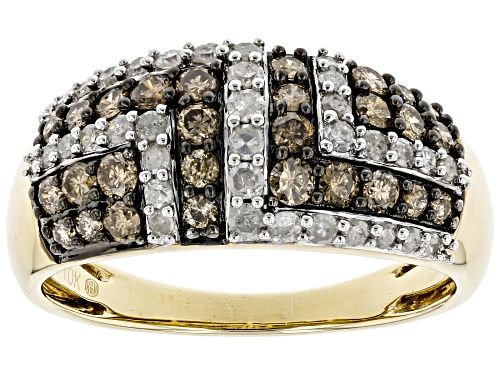 Photo of 0.88ctw Round Champagne & White Diamond 10K Yellow Gold Wide Band Ring - Size 8