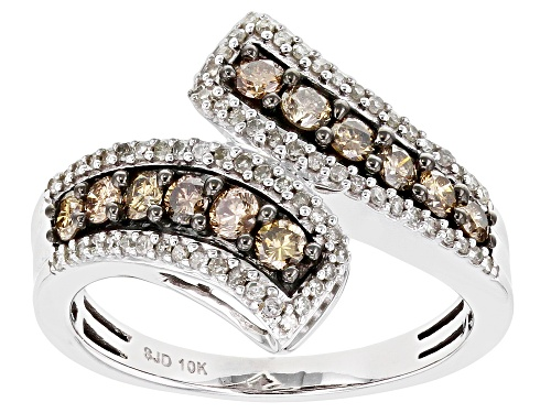 Photo of 0.75ctw Round Champagne & White Diamond 10K White Gold Bypass Ring - Size 7