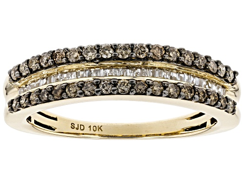 Photo of 0.50ctw Round & Baguette Champagne & White Diamond 10K Yellow Gold Band Ring - Size 7