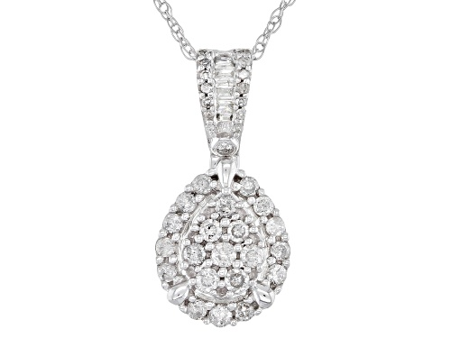 "Photo of 0.50ctw Round & Baguette White Diamond 10K White Gold Cluster Pendant With 18"" Rope Chain"