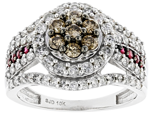 Photo of 1.30ctw Round Champagne & White Diamond And 0.15ctw Round Burmese Ruby 10K White Gold Cluster Ring - Size 6