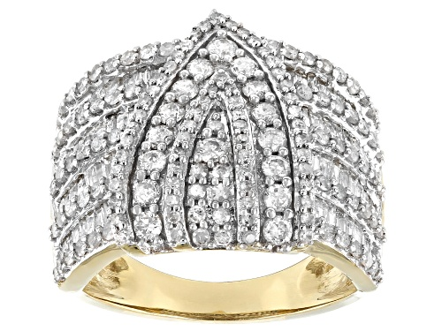 Photo of 1.99ctw Round & Baguette White Diamond 10K Yellow Gold Cocktail Ring - Size 7