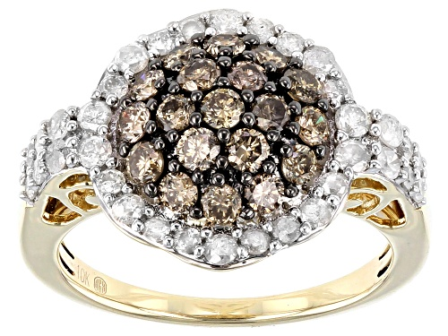 Photo of 1.48ctw Round Champagne & White Diamond 10K Yellow Gold Cluster Ring - Size 5