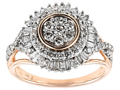 Photo of 1.00ctw Round And Baguette White Diamond 10k Rose Gold Cluster Ring - Size 7