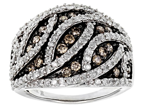 Photo of 1.50ctw Round White And Champagne Diamond 10k White Gold Crossover Dome Ring - Size 8