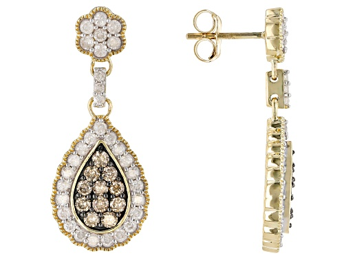 Photo of 1.50ctw Round White And Champagne Diamond 10k Yellow Gold Teardrop Earrings