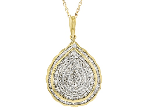 "Photo of 1.00ctw Baguette And Round White Diamond 10k Yellow Gold Cluster Pendant With 18"" Rope Chain"