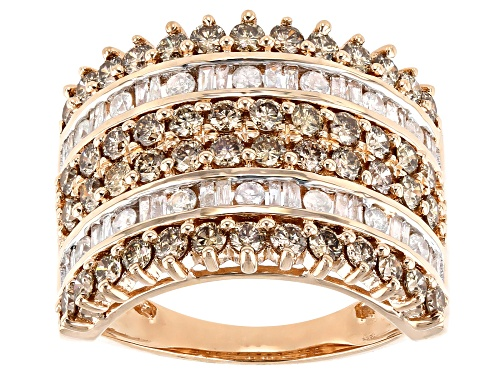 Photo of 2.00ctw Round Champagne Diamond With Round And Baguette White Diamond 10k Rose Gold Multi-Row Ring - Size 7
