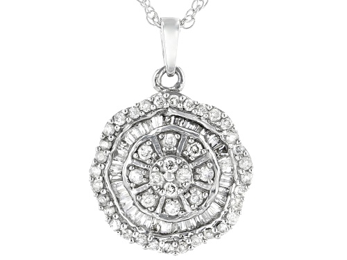 """Photo of 0.50ctw Round And Baguette White Diamond 10k White Gold Cluster Pendant With 18"""" Rope Chain"""
