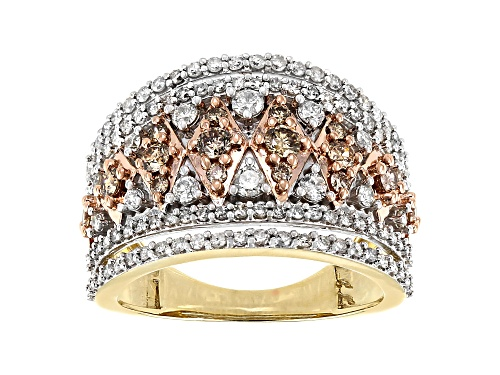 Photo of 1.25ctw Round White And Champagne Diamond 10k Yellow Gold Wide Band Ring - Size 7