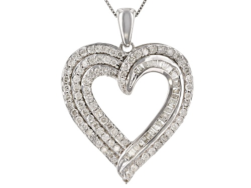 "Photo of 1.00ctw Round And Baguette White Diamond 10k White Gold Heart Pendant With 18"" Box Chain"