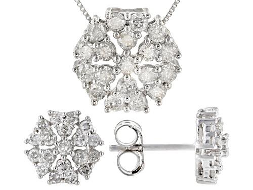 Photo of 1.00ctw Round White Diamond 10k White Gold Cluster Earrings & Pendant Jewelry Set