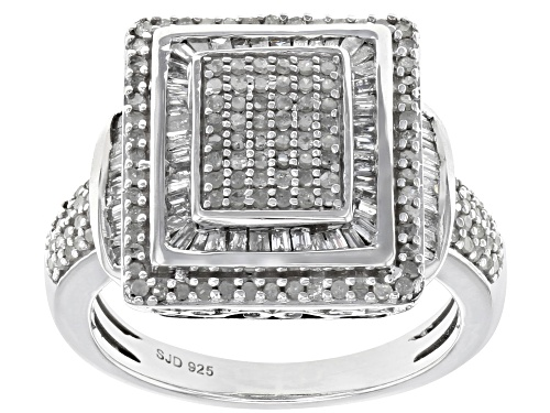 Photo of 0.90ctw Round And Baguette White Diamond Rhodium Over Sterling Silver Ring - Size 8