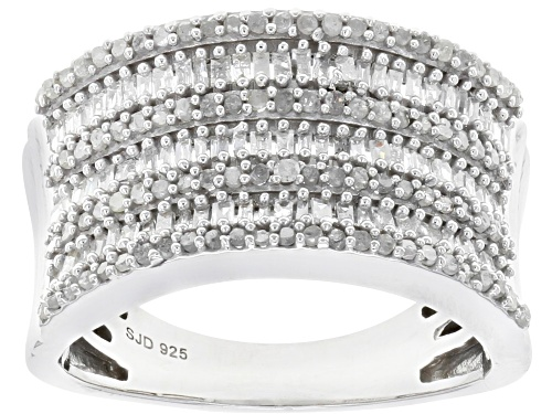 Photo of 0.75ctw Baguette And Round White Diamond Rhodium Over Sterling Silver Ring - Size 7