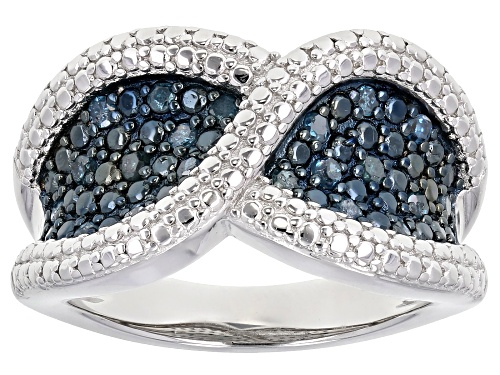 Photo of 0.30ctw Round Blue Velvet Diamonds™ Rhodium Over Sterling Silver Ring - Size 6