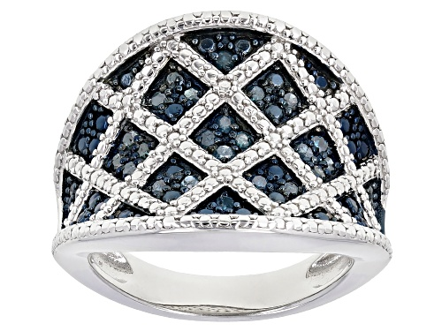 Photo of 0.29ctw Round Blue Velvet Diamonds™ Rhodium Over Sterling Silver Ring - Size 6