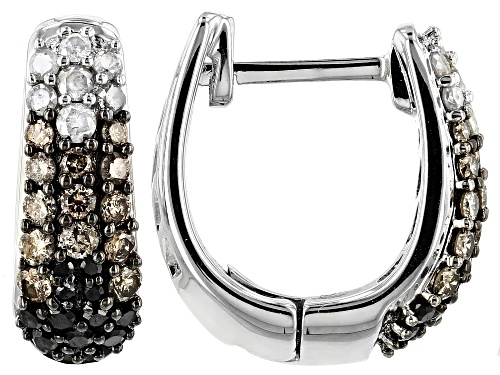 Photo of 0.82ctw Round Champagne, White And Black Diamond Rhodium Over Sterling Silver Earrings
