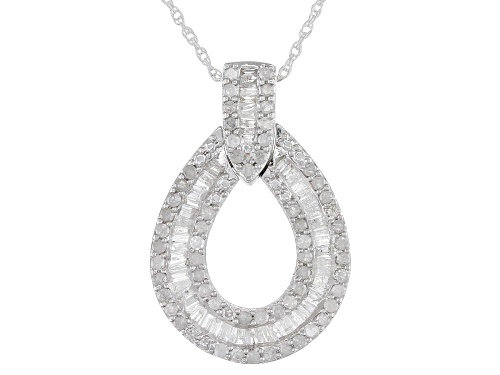 Photo of 1.00ctw Round & Baguette White Diamond Rhodium Over Sterling Silver Pendant With 18 Inch Rope Chain