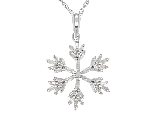 "Photo of 0.50ctw Baguette & Round White Diamond Rhodium Over Sterling Silver Snowflake Pendant With 18"" Chain"