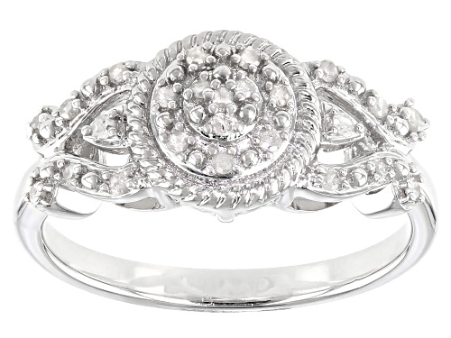 Photo of 0.15ctw Round White Diamond Rhodium Over Sterling Silver Cluster Ring - Size 8