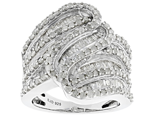 Photo of 2.05ctw Round And Baguette White Diamond Rhodium Over Sterling Silver Cocktail Ring - Size 6