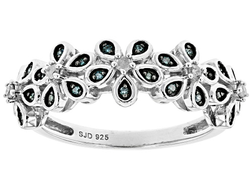 Photo of 0.15ctw Round Blue Velvet Diamonds™ And White Diamond Rhodium Over Sterling Silver Flower Band Ring - Size 6