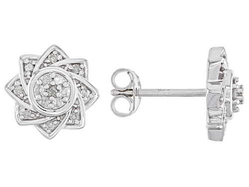 Photo of 0.20ctw Round White Diamond Rhodium Over Sterling Silver Flower Cluster Earrings