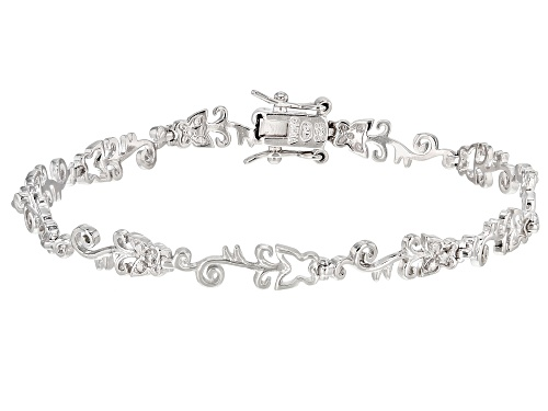 Photo of Round White Diamond Accent Rhodium Over Sterling Silver Butterfly Tennis Bracelet - Size 7.25