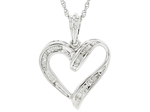 Photo of 0.25ctw Baguette White Diamond Rhodium Over Sterling Silver Heart Pendant With 18 Inch Chain