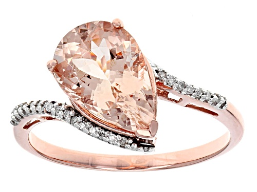 Photo of 2.80ct Pear Shaped Cor-De-Rosa Morganite™ With .05ctw Round Diamond Accent 10k Rose Gold Ring - Size 12
